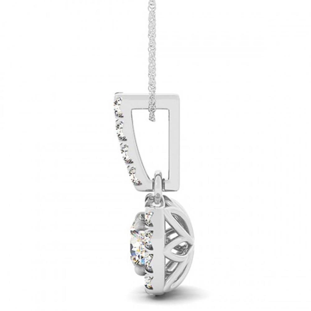 0.40 ctw SI Diamond Halo Necklace 14K White Gold - REF-46M2F - SKU:30055