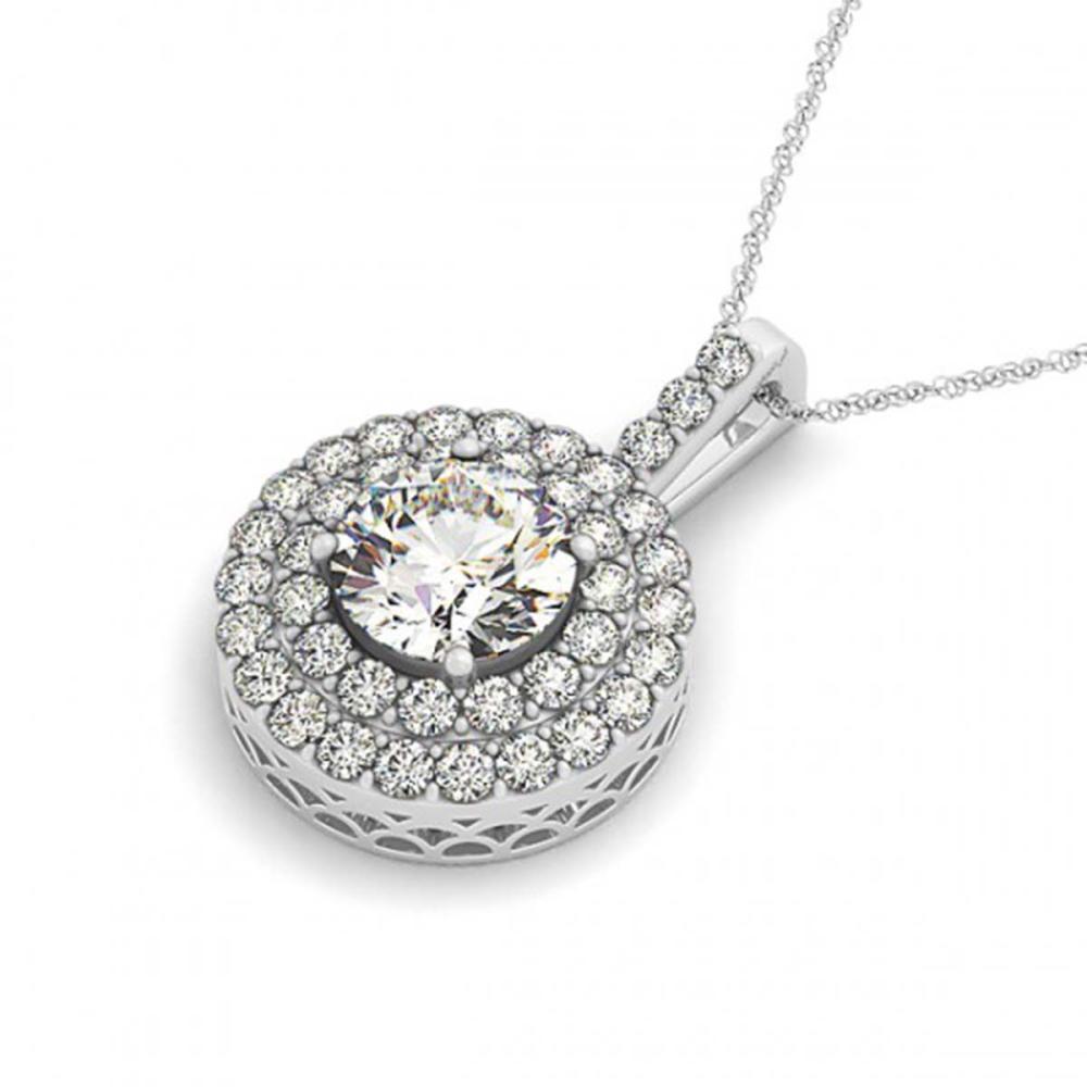 2.5 ctw VS/SI Diamond Halo Necklace 14K White Gold - REF-508W6H - SKU:30253
