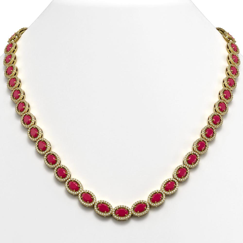 34.11 ctw Ruby & Diamond Halo Necklace 10K Yellow Gold - REF-672N7A - SKU:40405