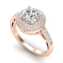 Lot 6133: 1.70 ctw VS/SI Diamond Solitaire Art Deco Ring 18K Rose Gold - REF-436M4F - SKU:37254