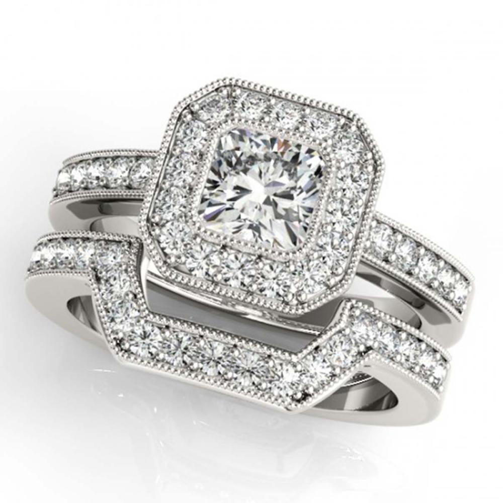 1.05 ctw VS/SI Cushion Diamond 2pc Set Halo 14K White Gold - REF-128R2K - SKU:31379