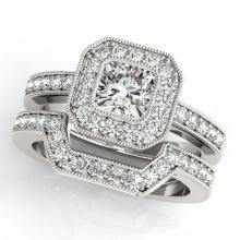 Lot 6147: 1.05 ctw VS/SI Cushion Diamond 2pc Set Halo 14K White Gold - REF-128R2K - SKU:31379