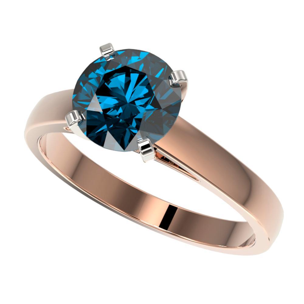2 ctw Intense Blue Diamond Ring 10K Rose Gold - REF-405X2R - SKU:33036