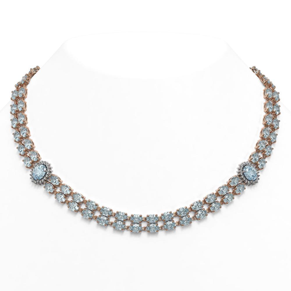 45.94 ctw Aquamarine & Diamond Necklace 14K Rose Gold - REF-626A9V - SKU:44364