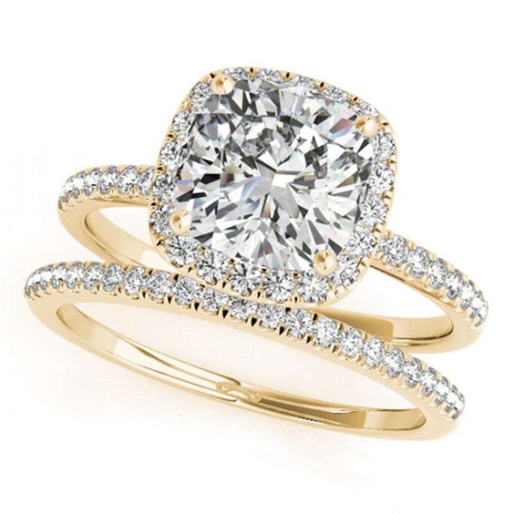 1.51 ctw VS/SI Cushion Diamond 2pc Set Halo 14K Yellow Gold - REF-306R8K - SKU:31405