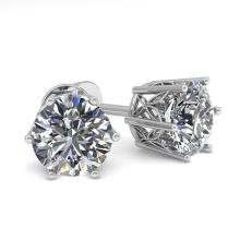 Lot 6126: 1.50 ctw VS/SI Diamond Stud Earrings 18K White Gold - REF-246F5N - SKU:35838