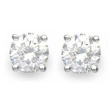 Lot 6132: 1.0 ctw VS/SI Diamond Stud Earrings 18K White Gold - REF-117M2F - SKU:13535