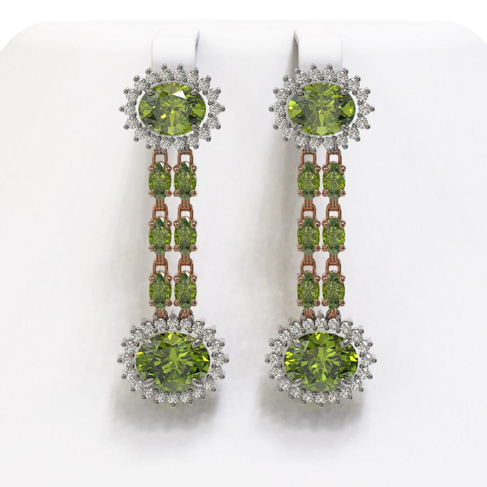 11.78 ctw Tourmaline & Diamond Earrings 14K Rose Gold - REF-217M6F - SKU:44475