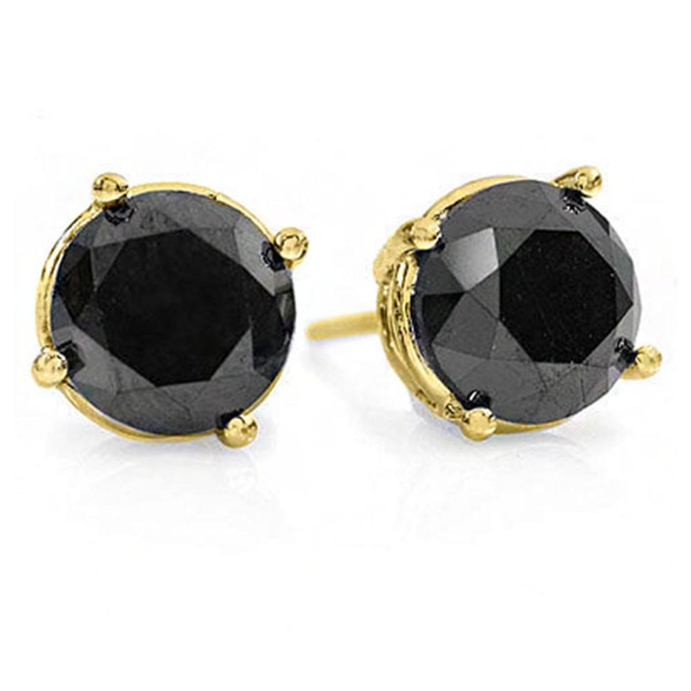 3.0 ctw VS Black Diamond Solitaire Stud Earrings 14K Yellow Gold - REF-84V9Y - SKU:14136