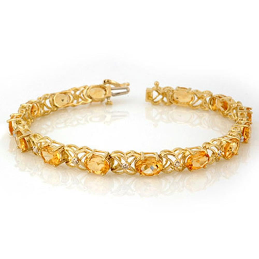 10.65 ctw Citrine & Diamond Bracelet 10K Yellow Gold - REF-68W2H - SKU:10521