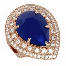 Lot 6137: 16.29 ctw Sapphire & Diamond Ring 14K Rose Gold - REF-302V2Y - SKU:43287