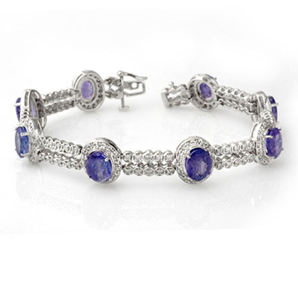 21.25 ctw Tanzanite & Diamond Bracelet 14K White Gold - REF-496W7H - SKU:11745