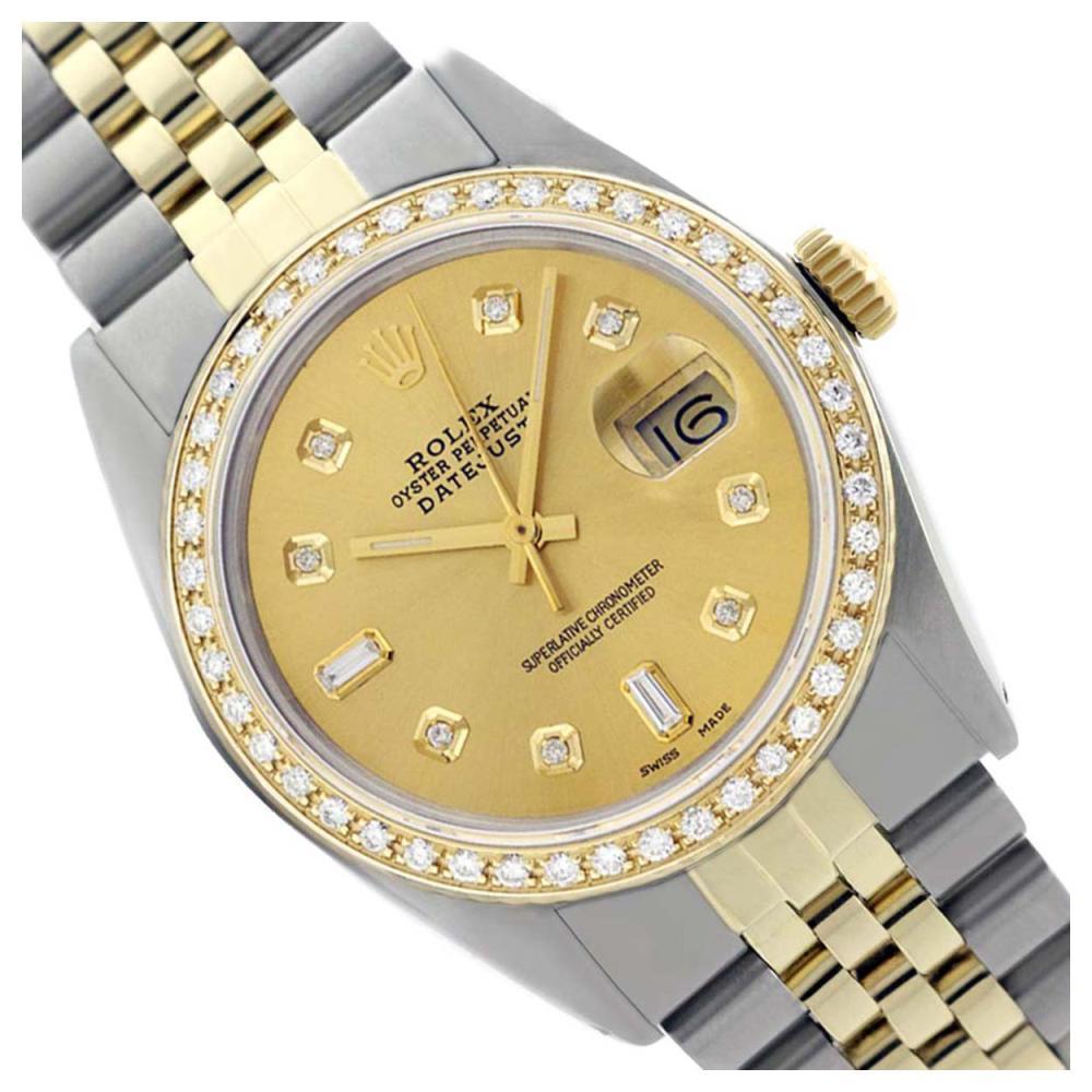 Rolex Ladies Two Tone 14K Gold/ss, Diamond Dial & Diamond Bezel, Sapphire Crystal - REF-440F6M