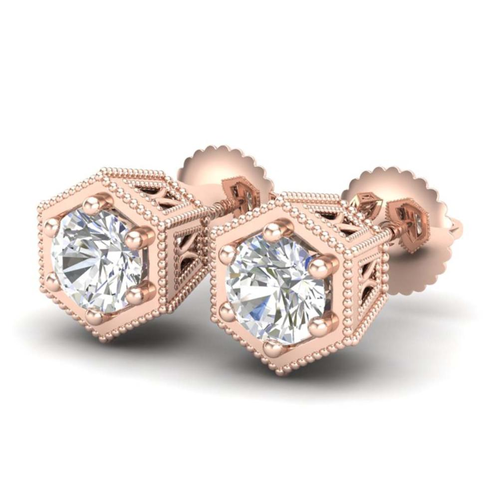 1.15 ctw VS/SI Diamond Solitaire Art Deco Stud Earrings 18K Rose Gold - REF-174F5N - SKU:37218