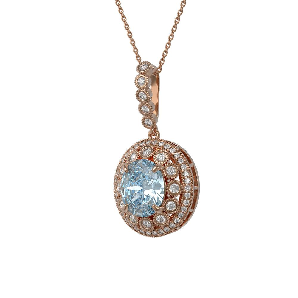 6.81 ctw Aquamarine & Diamond Necklace 14K Rose Gold - REF-228N2A - SKU:43830