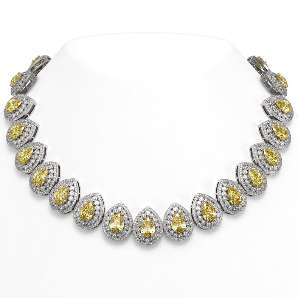 103.62 ctw Canary Citrine & Diamond Necklace 14K White Gold - REF-3002K4W - SKU:43241