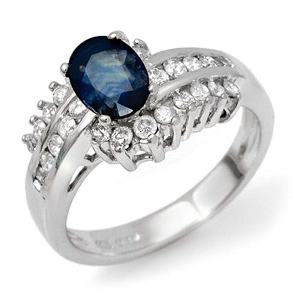 1.75 ctw Blue Sapphire & Diamond Ring 18K White Gold - REF-89X8R - SKU:11891