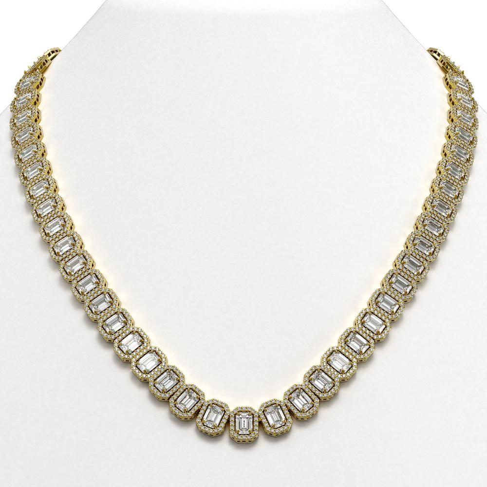47.12 ctw Emerald Diamond Necklace 18K Yellow Gold - REF-7510N5A - SKU:42841