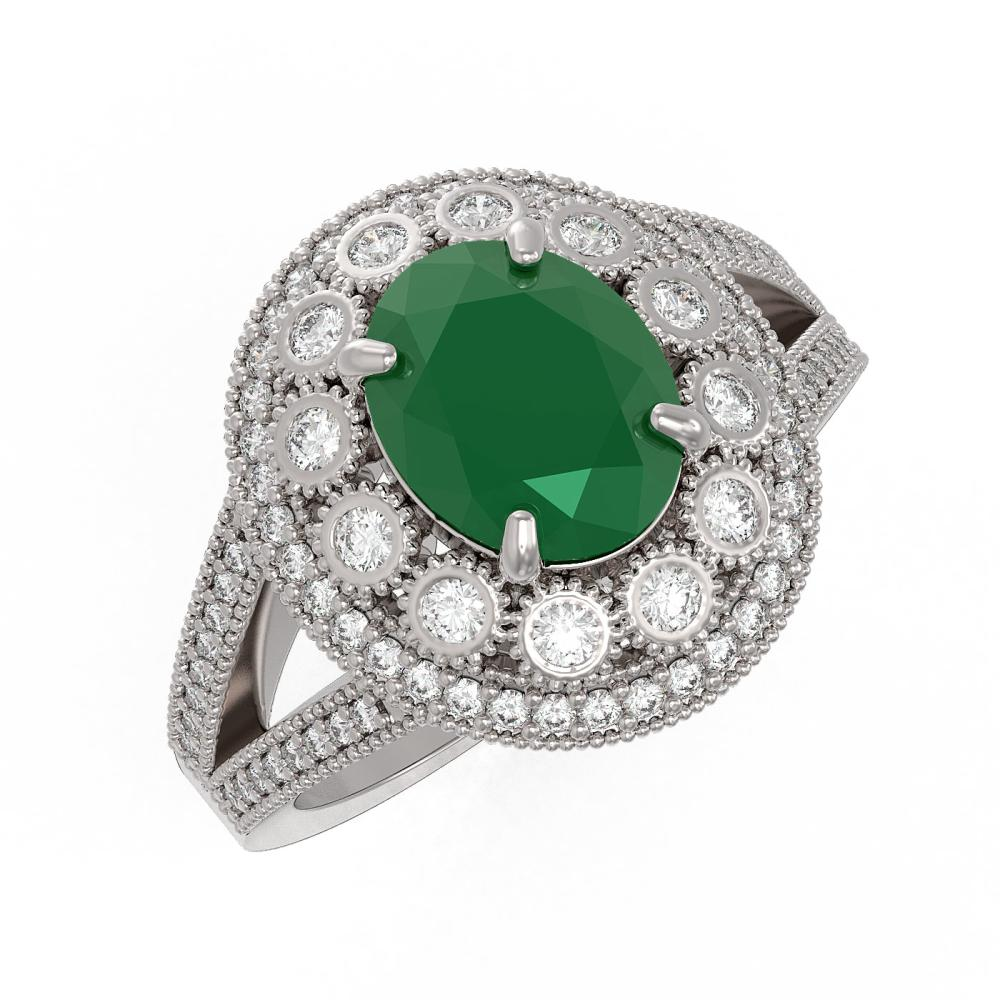 4.55 ctw Emerald & Diamond Ring 14K White Gold - REF-148M2F - SKU:43574
