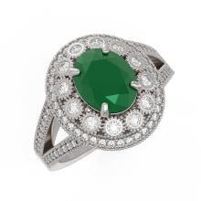 Lot 6175: 4.55 ctw Emerald & Diamond Ring 14K White Gold - REF-148M2F - SKU:43574