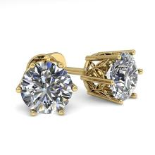 Lot 6163: 1.55 ctw VS/SI Diamond Stud Solitaire Earrings 18K Yellow Gold - REF-253V9Y - SKU:35842