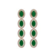 Lot 6156: 6.47 ctw Emerald & Diamond Halo Earrings 10K Rose Gold - REF-125H5M - SKU:40503
