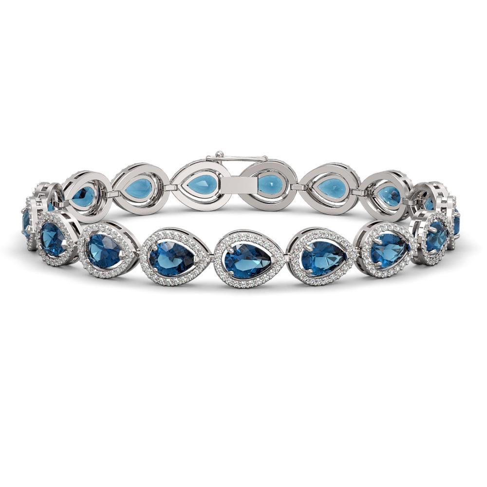 16.59 ctw London Topaz & Diamond Halo Bracelet 10K White Gold - REF-281K6W - SKU:41126