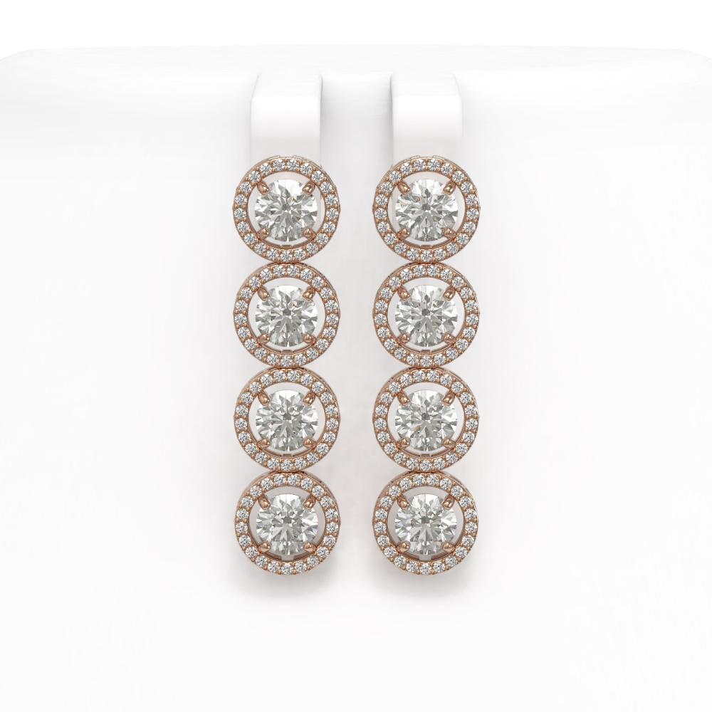 6.14 ctw Diamond Earrings 18K Rose Gold - REF-727A4V - SKU:42675