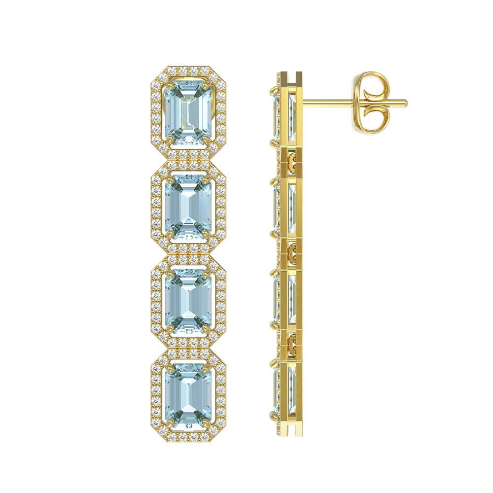 Lot 6009: 11.54 ctw Aquamarine & Diamond Halo Earrings 10K Yellow Gold - REF-193M3F - SKU:41452