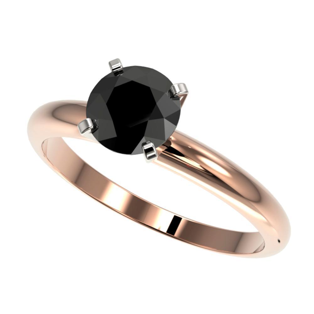 1.25 ctw Fancy Black Diamond Solitaire Ring 10K Rose Gold - REF-32F5N - SKU:32907