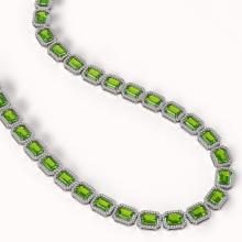 Lot 6014: 57.3 ctw Peridot & Diamond Halo Necklace 10K White Gold - REF-819A6V - SKU:41357