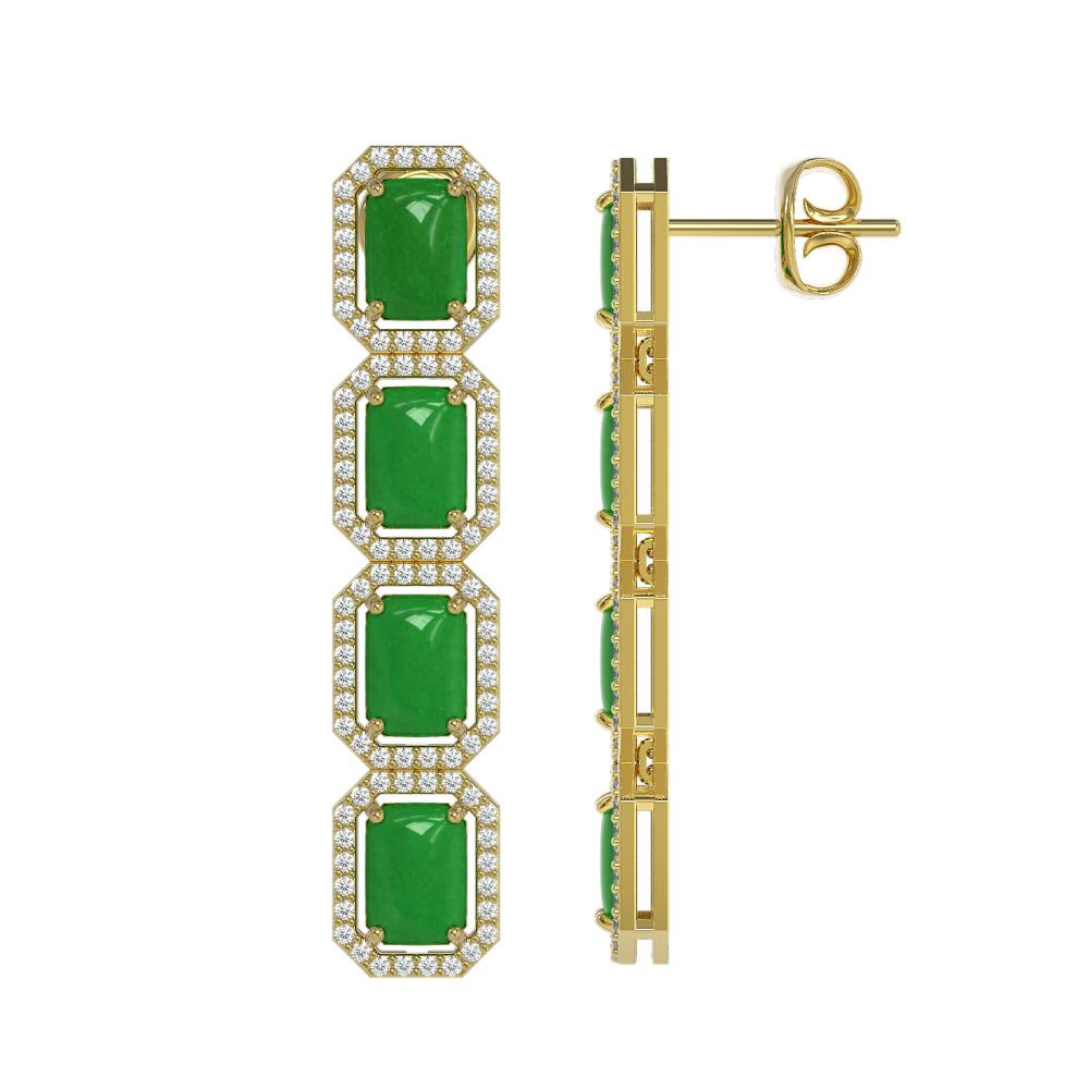 Lot 6007: 11.93 ctw Jade & Diamond Halo Earrings 10K Yellow Gold - REF-146F4N - SKU:46073