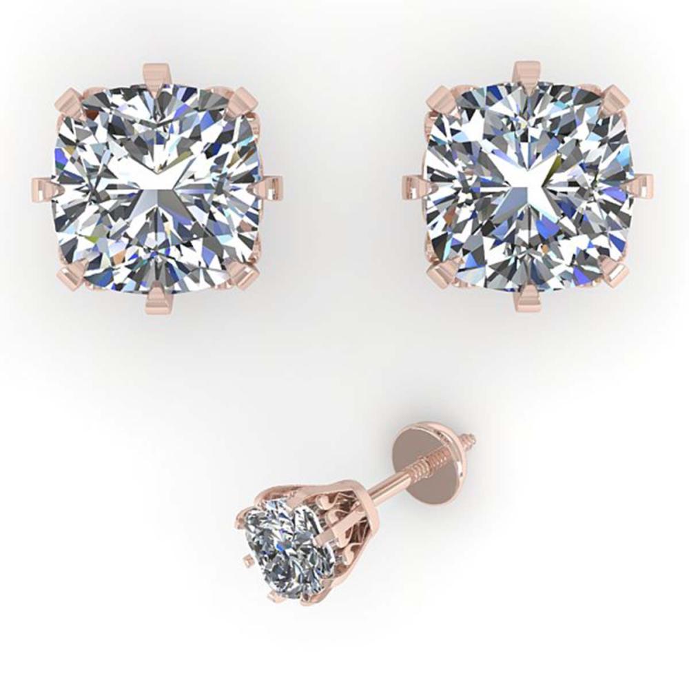 Lot 6022: 1.0 ctw VS/SI Cushion Cut Diamond Stud Earrings 18K Rose Gold - REF-147F2N - SKU:35675