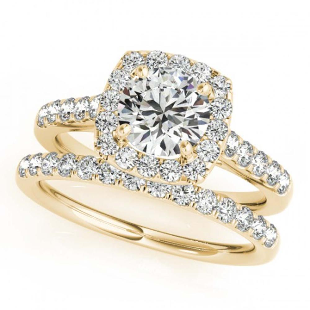 1.45 ctw VS/SI Diamond 2pc Wedding Set Halo 14K Yellow Gold - REF-120V2Y - SKU:30716