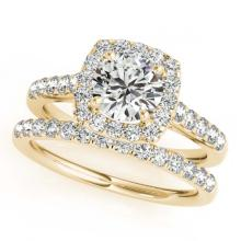 Lot 6192: 1.45 ctw VS/SI Diamond 2pc Wedding Set Halo 14K Yellow Gold - REF-120V2Y - SKU:30716