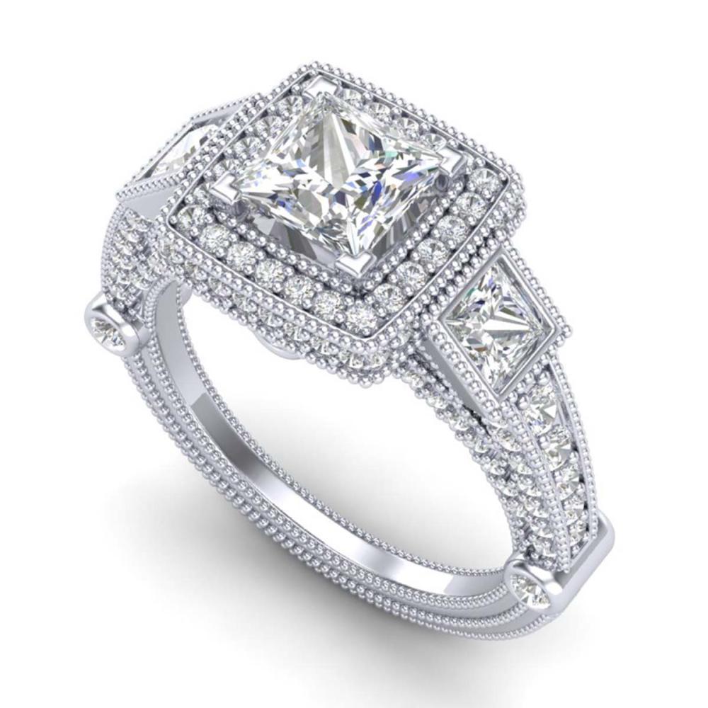 3 ctw Princess VS/SI Diamond Art Deco 3 Stone Ring 18K White Gold - REF-563F6N - SKU:37133