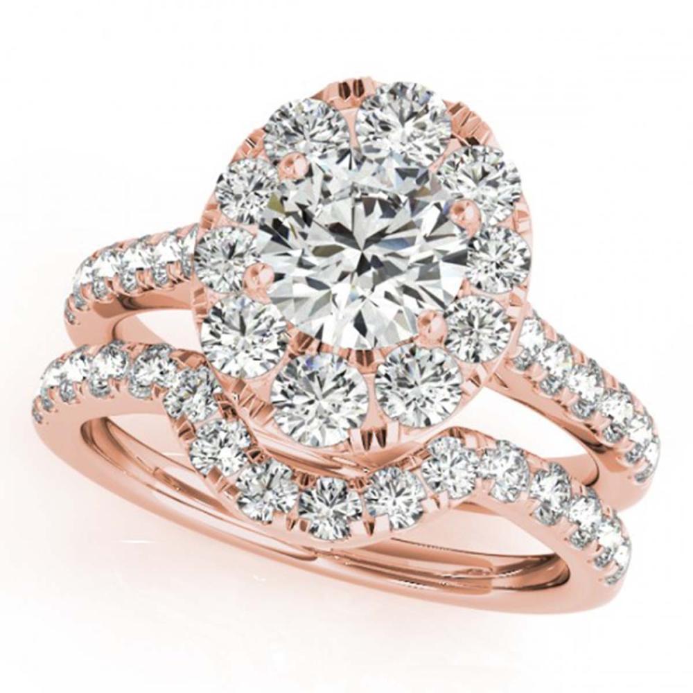 2.22 ctw VS/SI Diamond 2pc Wedding Set Halo 14K Rose Gold - REF-200X9R - SKU:31170