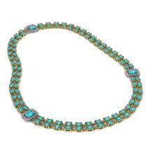Lot 6018: 37.66 ctw Swiss Topaz & Diamond Necklace 14K Yellow Gold - REF-385X6R - SKU:45001