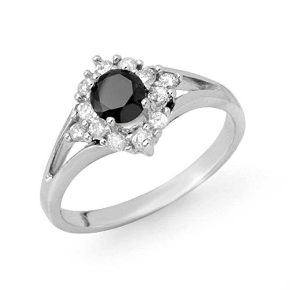 0.85 ctw VS Black & White Diamond Ring 18K White Gold - REF-56F9N - SKU:11839