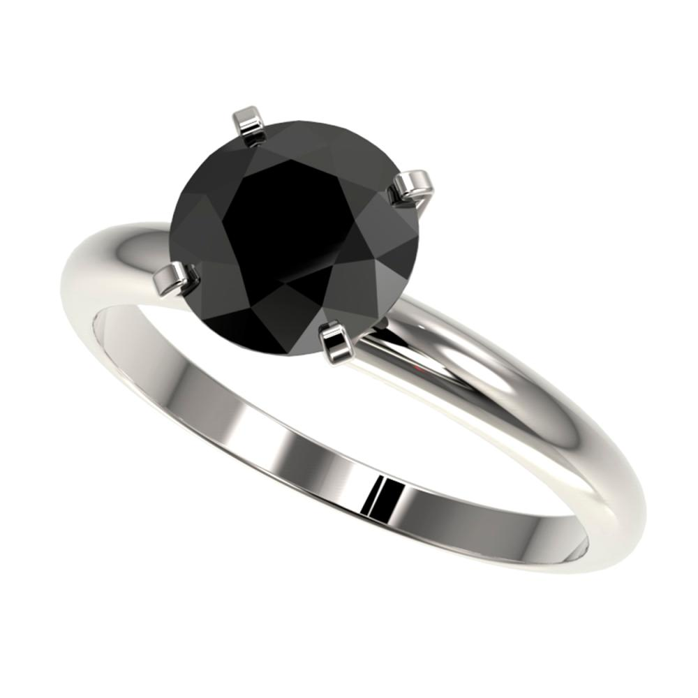 Lot 6182: 2 ctw Fancy Black Diamond Solitaire Ring 10K White Gold - REF-58M5F - SKU:32935