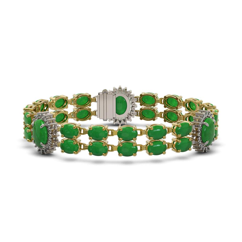 33.27 ctw Jade & Diamond Bracelet 14K Yellow Gold - REF-265H6M - SKU:44452