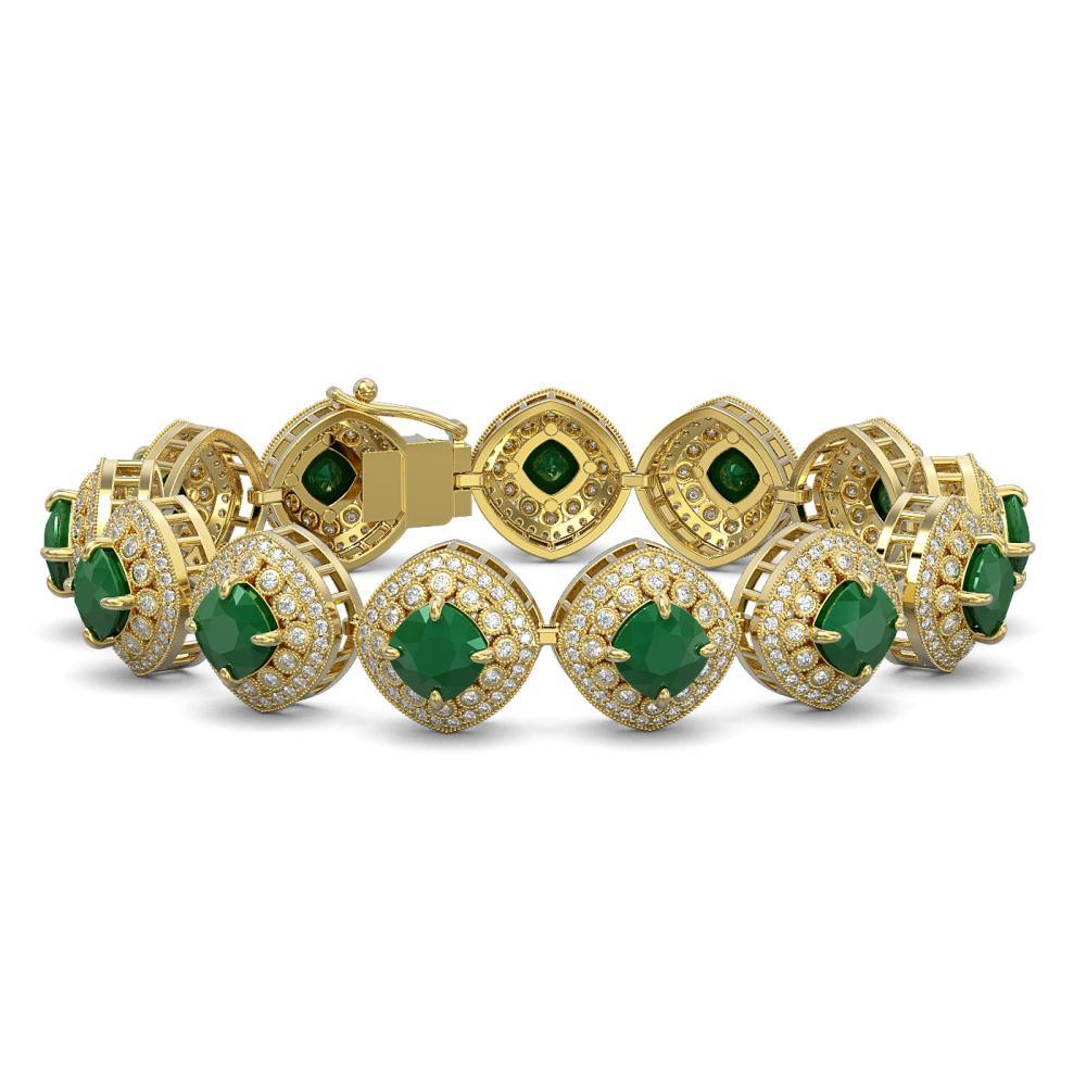37.35 ctw Emerald & Diamond Bracelet 14K Yellow Gold - REF-956M7F - SKU:44146