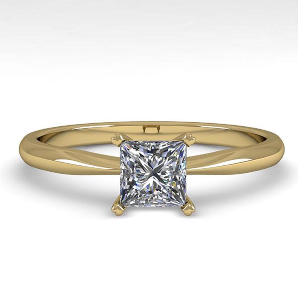 Lot 6190: 0.55 ctw VS/SI Princess Cut Diamond Ring 18K Yellow Gold - REF-84Y2X - SKU:32395