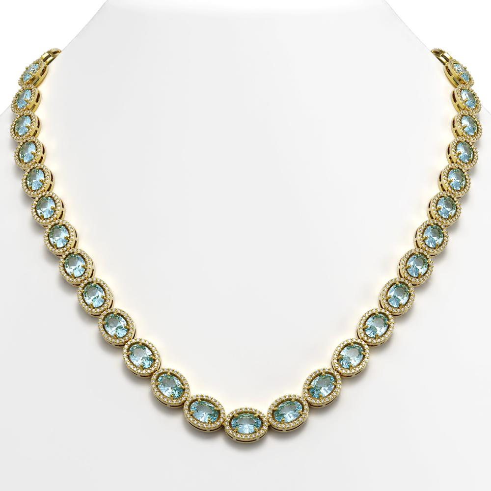 41.88 ctw Aquamarine & Diamond Halo Necklace 10K Yellow Gold - REF-722N4A - SKU:40579
