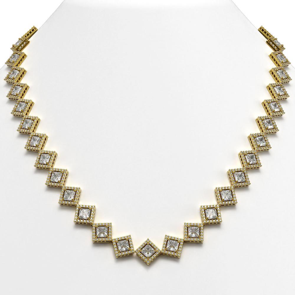 31.92 ctw Princess Diamond Necklace 18K Yellow Gold - REF-4440M3F - SKU:42850