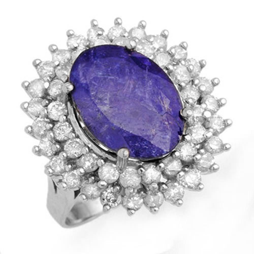 8.78 ctw Tanzanite & Diamond Ring 18K White Gold - REF-401R5K - SKU:13387