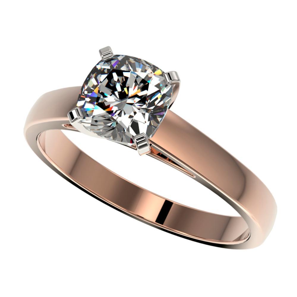 1.25 ctw VS/SI Cushion Cut Diamond Ring 10K Rose Gold - REF-372F3N - SKU:33017