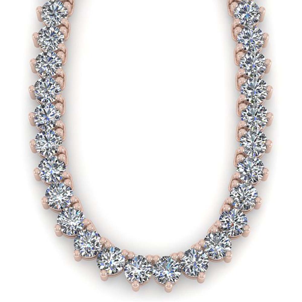 Lot 6039: 54 ctw 3 Prong SI Diamond Necklace 18K Rose Gold - REF-14848X3R - SKU:36137