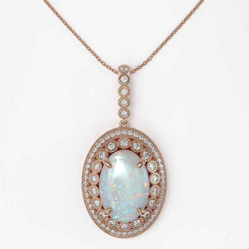 Lot 6055: 13.42 ctw Opal & Diamond Necklace 14K Rose Gold - REF-373V3Y - SKU:43908