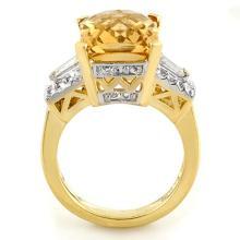 Lot 6049: 9.55 ctw Citrine & Diamond Ring 10K Yellow Gold - REF-90F2N - SKU:11565